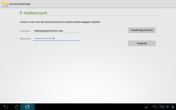 Standaard e-mail app Android - Email instellen (1)