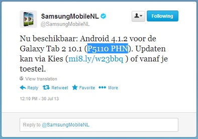 Samsung Galaxy Tab 2 (10 1) Android 4 1 2 software update nu