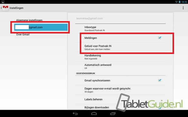 Gmail notificaties meldingen aanpassen Android tablet