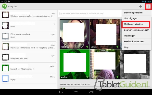 Meldingen notificaties Hangouts uitzetten op tablet (1)