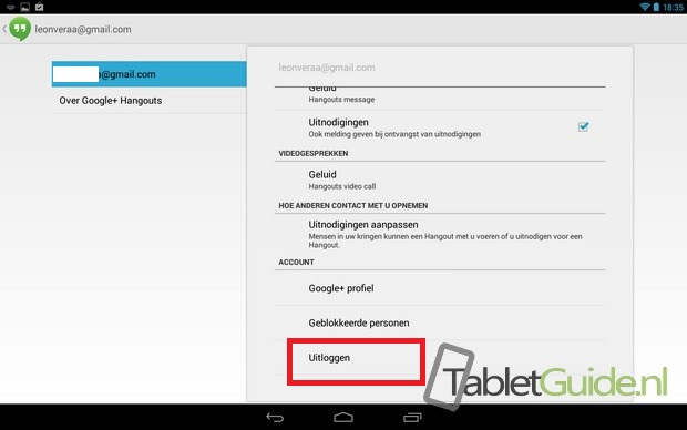 Meldingen notificaties Hangouts uitzetten op tablet (2)